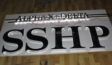 brushed stainless steel letters and numbers for company logo