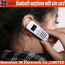 2015 new arrival bluetooth earphone GSM SIM CARD SLOT mini the world smallest smart mobile phone