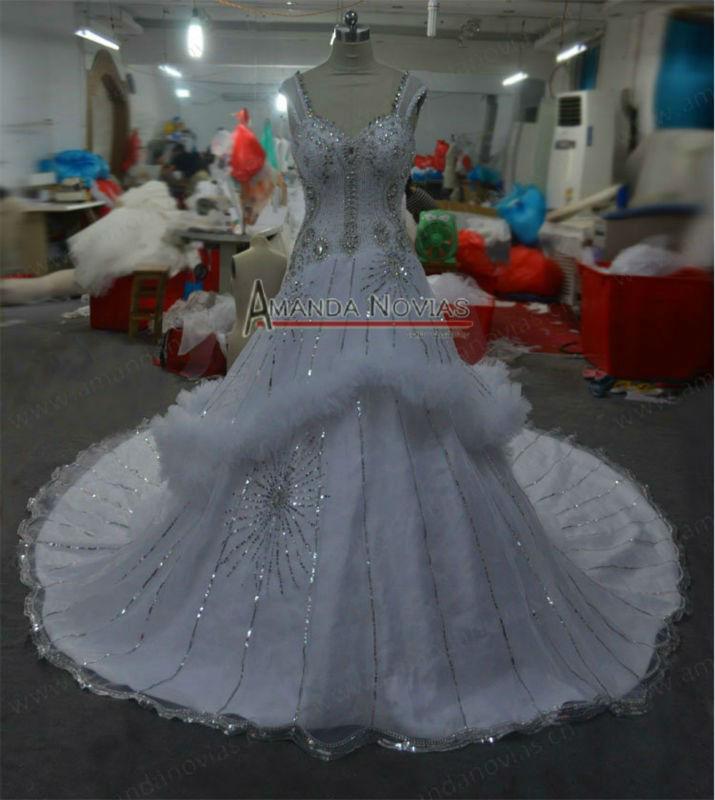 Cap luva de cristal pesado frisada Lucury Expansivo vestidos de casamento fábrica de cristal