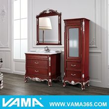 Free standing red solid wood bathroom furniture for england market