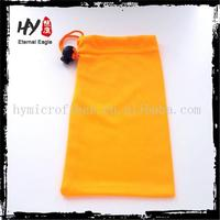 Hot sale double drawstring microfiber pouch with logo printing /eyeglass soft microfiber cloth pouch