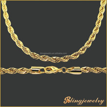 2015 new fashion jewelry 18k gold necklace rope chain wholesale brass chain
