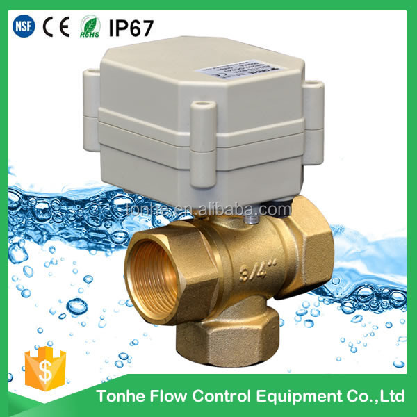12 volt 3-way vertical Electric Actuator Ball Valve for Water equipment, motor-control water system