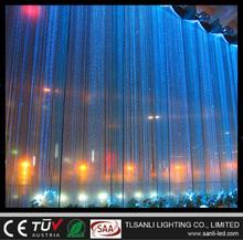 Side sparkle fiber optic waterfall light curtain for wall lighting