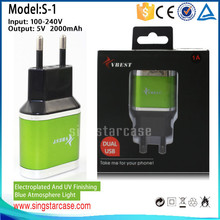 wholesale mobile phone universal travel adapter with usb charger, dual usb wall charger