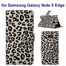 China OEM Leopard Pattern Wallet Flip Leather Case Cover for Samsung Galaxy Note 5 Edge