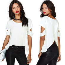 New Fashion women t shirt Chiffon Blouse blusa Sexy Wrap Back Cutout tops for women Short Sleeves Crew Neck Casual Tops G0623