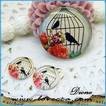20% OFF Handmade 12mm Floral Circle Earring Glass Cabochon, Bird inserts Domed Glass Cabochon VI