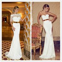 2014 Elegant Sexy Women Dimitrius Dalia Cream Color Cheap Customized Make Tight Fitted Desi TM1609 Formal Dress