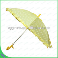 Promotional Popular Fancy yellow Straight manual open lady lace parasol umbrella