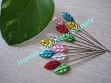 Assorted Colors Floral Decor 55mm Plastic leaf shape Head Corsage Pins