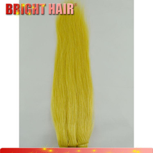 Shedding free 22# color hair weft Yellow color virgin human hair extension