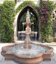 Outdoor tiered garden water fountain