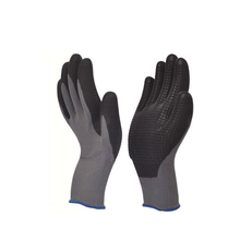 CE EN388 Approved Nylon&Spandex Grey Color Linner Black Microfoan Nirtle&PU Palm Coated Nitrile Dots Safety Gloves