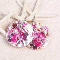 colorful shell flower earring