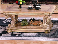 Luxury Classic European Style Living Room Set/Traditional Victorian Design Wooden Coffee Table/Luxury Marquetry Coffee Table