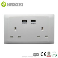 2000mA 5V Twin Usb Port With Double Socket (LYSUSB-II(HB))