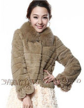 CX-G-A-180 Genuine Rabbit Fur With Fox Fur Trim 2013 Dresses For Women