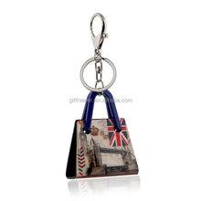 custom fashion England souvenir acrylic bag keychain