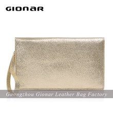 Calf skin goldtone leather fashion clutch bag , women handbag , genuine leather bag