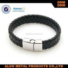 New Fashion Jewelry Black Braided Leather Bracelet Lion Men Stainless Steel Bracelets Bangles