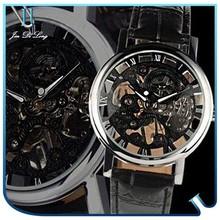 Luxury Genunie Leather Customized Hollow Stainless Steel Watch