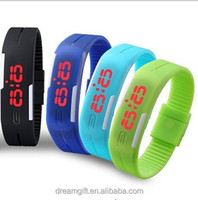 Stock Wholesales 2015 Candy Color waterproof Ultra Thin Men Girl Sports Silicone Digital LED Sports Bracelet Wrist Watch