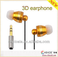 3D stereo metal earphone with silicone earphone subber cover,good for sports
