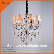 De cristal elegante 6- la luz blanco antiguo acabado acento candelabro de mesa lámpara de decoracion