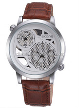 SKONE 9248 fashion style two time zone watches leather strap