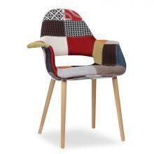 Charles tissu patchwork fauteuil maison / salon fauteuil avec hêtre massif