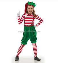2015 newest ruffle girls two pieces costumes- long sleeve christmas red white and green winter dresses
