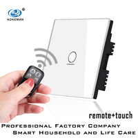 remote control 2 gang 1 way touch switch for smart household crystal remote control wall touch switch