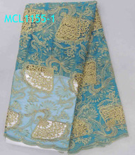 new arrival!! african french net lace fabric material /lace with handcut/french tulle lace wedding dres MCL1155-1