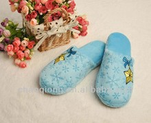 warm winter soft TPR indoor slip with pink base and embrodiery