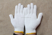 7/10 gauge white knitted cotton gloves manufacturer in china/bleached cheap gloves