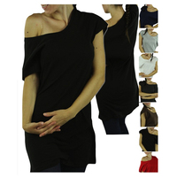 Chic Knit Basic Off Shoulder T Shirt Plain Women's T Shirt