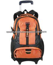Naranja mochila Trolley bolsa de barra de tracción mochila mochila con ruedas