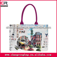 2014 High Quality and Hot selling city name printed canvas tote bag