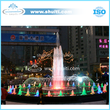 Square Pool Musical Dance Fountain Central High Water Fountain Colorful LED Lamp Project