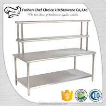 Stainless Steel Industrial Work Table Reinforced Frame Resturant Kitchen Work Table with top shelf Portable Work Table