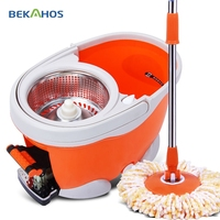 Bekahos New 4 Drives Orange Color Dolphin Mop 360 Roto Mop Household Cleaning Mop