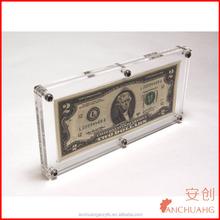 Clear Acrylic Currency Frame Plastic Money Holder Dollar Slab Case