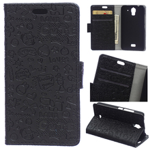 Magic Girl Doodle Black Pu Leather Flip Case For Huawei Ascend Y360