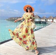 fresco cuello vestido de gasa de flores de bohemia vestido de playa en verano