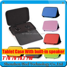 Promotion Andriod 7 inch tablet leather case bag with speaker