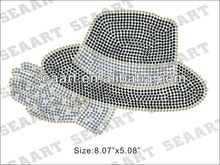 fashion hat iron on rhinestone motif