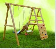 Kids Outdoor playground wooden garden swing in playground for outdoor playset