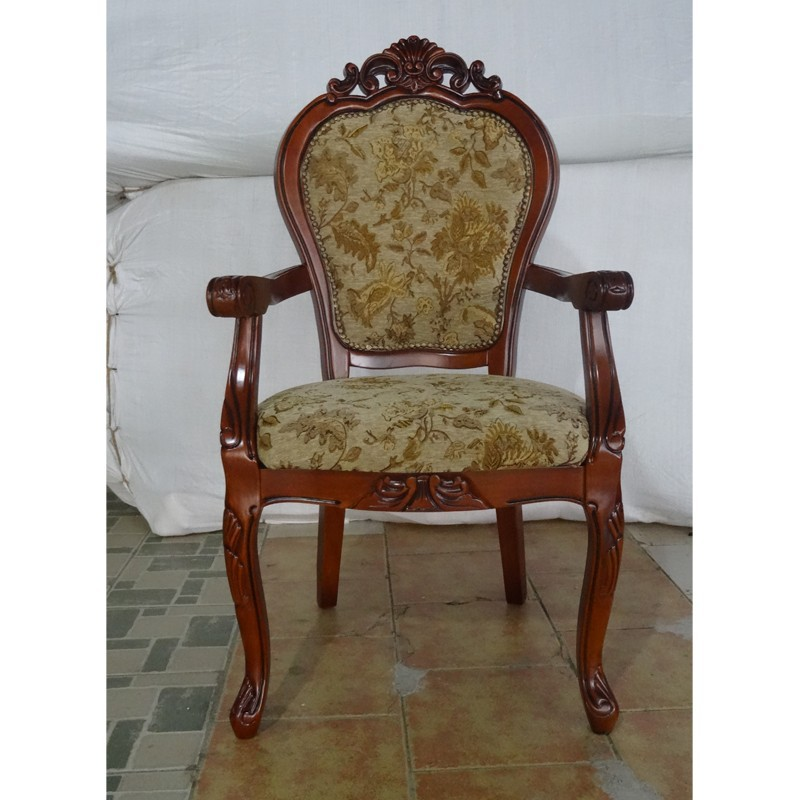 Antique Carved Wood French Provincial Furniture Dining Arm Chair On