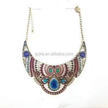 Large Porcelain Colorful Antique Retro Alloy Boho statement Necklace Turkish Jewelry